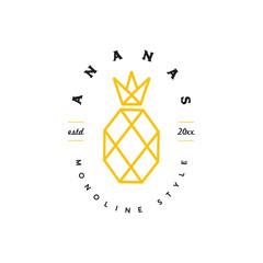 monoline pineapple logo icon vector template