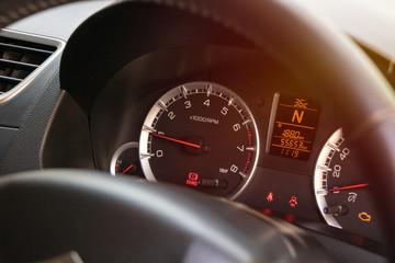 warning light handbrake in car dashboard