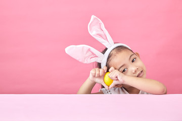 girl with rabbit ears Easter day