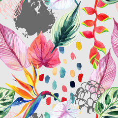Photo sur Aluminium Aquarelle la Nature Hand drawn abstract tropic summer background: watercolor colorful leaves, flowers, watercolour brushstrokes, grunge, scribble textures