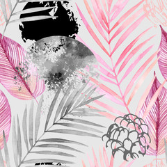 Hand drawn abstract tropical summer background: watercolor palm tree leaves, grunge, scribble textures