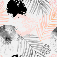 Photo sur Toile Empreintes Graphiques Hand drawn abstract tropical summer background: watercolor palm tree leaves, grunge, scribble textures
