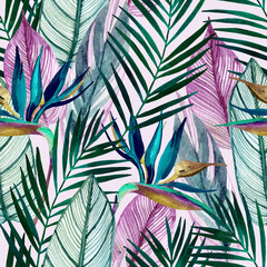 Fotobehang Aquarel Natuur Watercolor tropical seamless pattern with bird-of-paradise flower, palm leaves