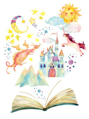 Watercolor open book with magic world isolated on white background