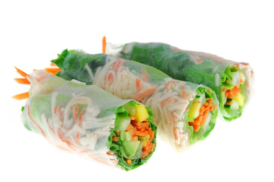 close up on fresh spring roll isolated on white background