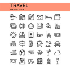 Travel Icons Set. UI Pixel Perfect Well-crafted Vector Thin Line Icons. The illustrations are a vector.