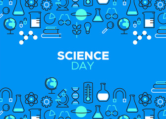 Science Day outline icon illustration