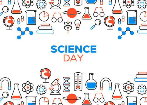 Science Day outline icon card illustration