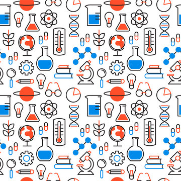Science education outline icon seamless pattern