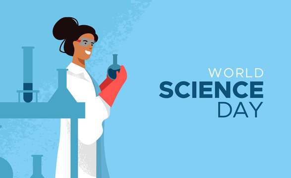 World Science Day card of scientist woman