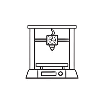 3d printer hand drawn outline doodle icon.