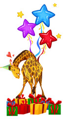 Party giraffe with balloons and presents