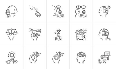 Artificial intelligence hand drawn outline doodle icon set.
