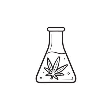 Flask with marijuana extraction hand drawn outline doodle icon.