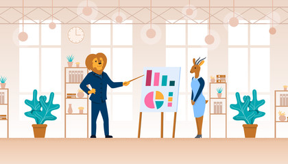 Man Lion and Gazelle Woman at Office Chart Board