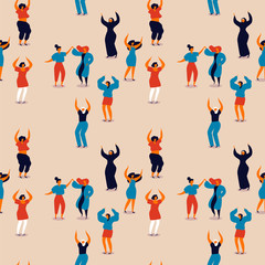 Womens Day seamless pattern of happy women dancing
