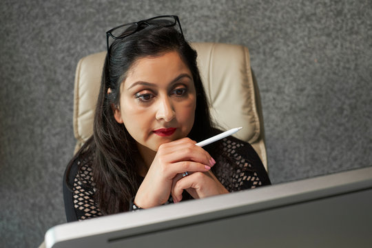 Businesswoman focused on work