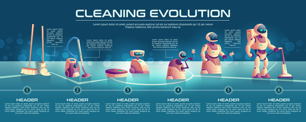 Home cleaning appliances evolution cartoon vector concept or banner. Manual housework tools as mop, broom, bucket with water, classic and robotic vacuum cleaners, cyborg homemade servant illustration