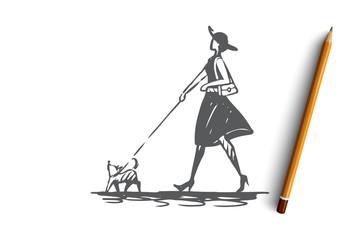 Dog, girl, walk, pet, animal concept. Hand drawn isolated vector.