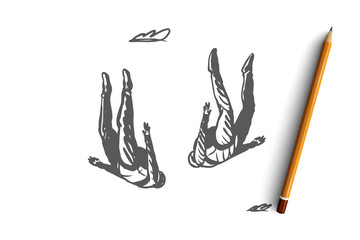 Extreme, sky, free, parachute, skydiving concept. Hand drawn isolated vector.