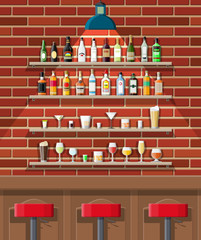 Drinking establishment. Interior of pub, cafe or bar. Bar counter, chairs and shelves with alcohol bottles. Glasses, lamp. Wooden and brick decor. Vector illustration in flat style