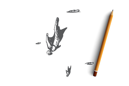BASE jumping, extreme, wingsuit, fall, skydiving concept. Hand drawn isolated vector.