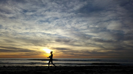 Woman Beach Walking Sunset Cardiff California