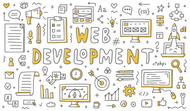 Set of web development doodles. Vector line art. Elements for your design.