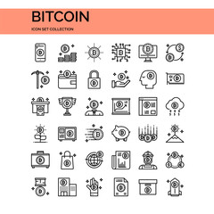 Bitcoin Icons Set. UI Pixel Perfect Well-crafted Vector Thin Line Icons. The illustrations are a vector.