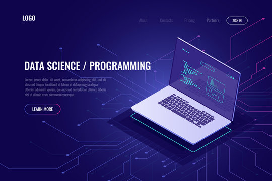 Programming and software development web page banner isometric icon, laptop pc with program code on screen, data statistic and analysis abstract concept, micro scheme, ultraviolet