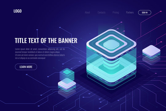 Abstract data server isometric icon, digital technology landing web page banner, database and big data processing concept, cloud storage, high tech ultraviolet
