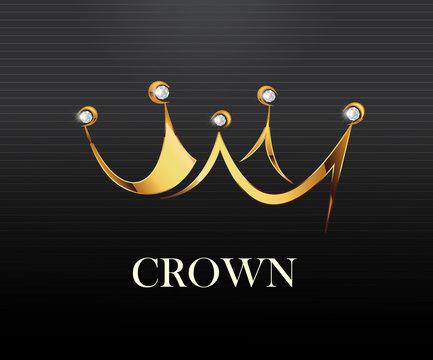 Crown logo vector illustration royal look logo.