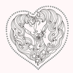 A pair of beautiful unicorns with a long mane. Black and white. Vector.