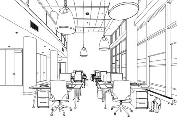 Modern Office Conception 01 (drawing) - 3d illustration
