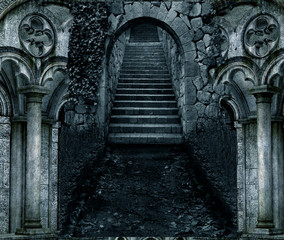 an illustration of dark scary stone stair entrance with stone architecture on both sides