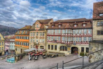 Schwaebisch Hall, Germany - 19 February 2019: The streets of Schwaebisch Hall