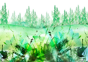 Watercolor banner, logo, postcard. green silhouette of the forest, pine, spruce, cedar. Watercolor landscape, black splash of paint, abstract spots, beautiful drawing. Countryside landscape, foggy