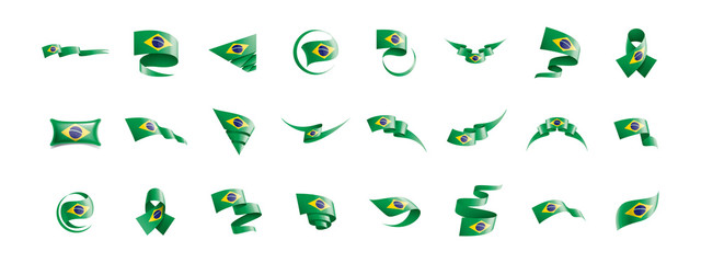 Brazil flag, vector illustration on a white background Wall mural