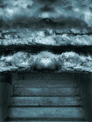 illustration of ocean water splashing against the bank with stairs