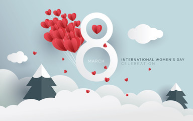 8th March International Women's Day Background with Flower Ornament