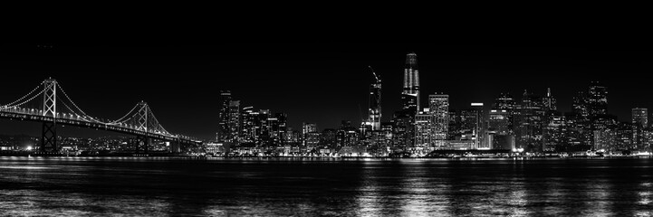 Panorama San Francisco schwarz-weiß bei Nacht Fototapete