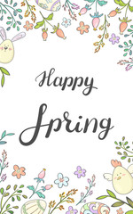 Happy spring. Card with Easter decoration