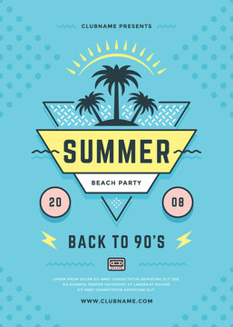 Summer beach party flyer or poster template 90s typography style design.
