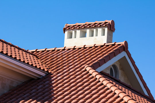 Ceramic Tiled Roof On House