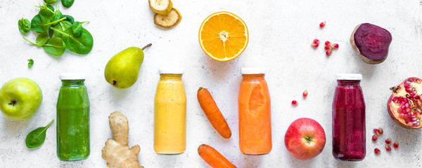 Colorful smoothies and ingredients