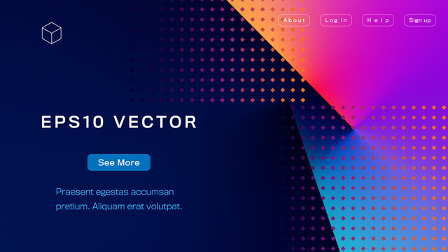 Abstract Colorful Landing Page Template. Aspect Ratio 16:9. EPS 10 Vector.