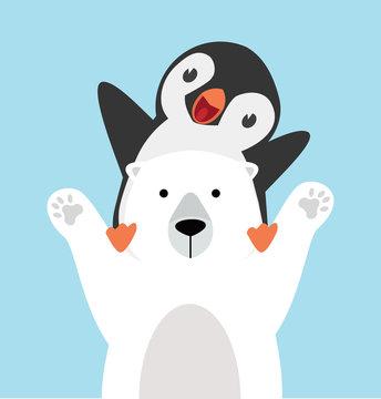 panguin riding on polar bear