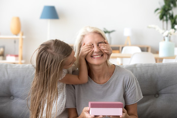 Loving granddaughter making surprise to happy grandmother