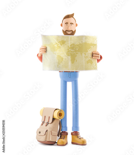 World Map On Hands.Cartoon Character Tourist Holds World Map In Hands 3d Illustration