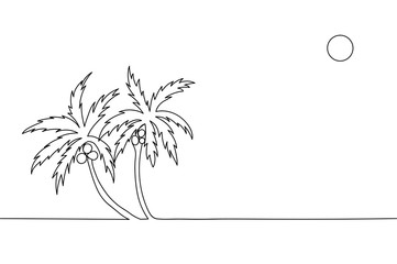 Continuous line drawing of palm trees with coconuts.